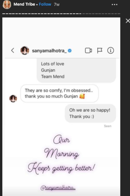 sanya malhotra message mend studio